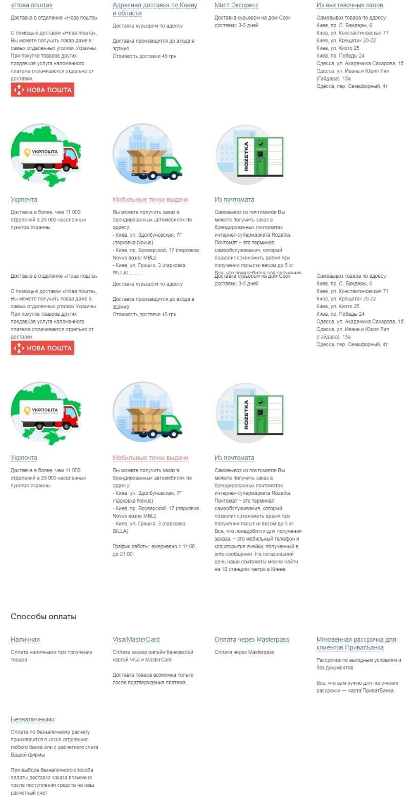 Страница доставки и оплаты сайта Rozetka.ua